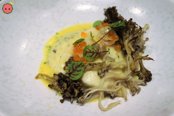 Nova Scotia Halibut (with celery root, hen of the woods, & riesling-cockle sauce)