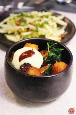 Patatas bravas, spicy-tangy sauce, and rosemary aioli