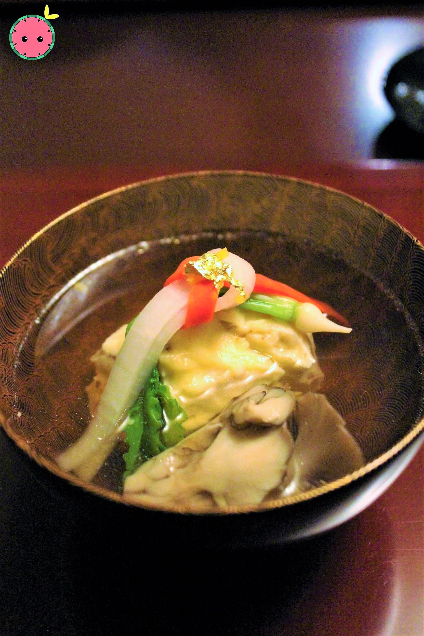 Hotate with Maitake Mushroom, Carrot, and Radish in Fish Broth