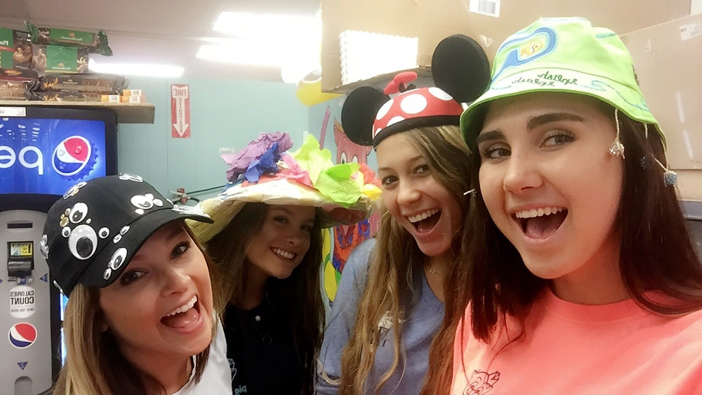 Liz, Ellie, Noelle, & Emma on wacky hat night