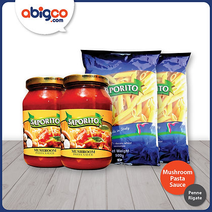 Saporito Penne Rigate and Mushroom Pasta Sauce Bundle