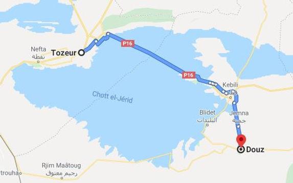 Festival du sahara de Douz. Map.