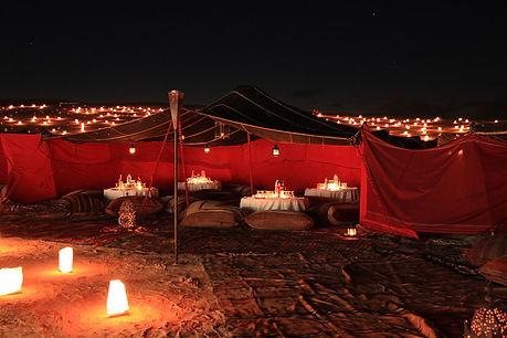Tente de réception du désert à Noel.