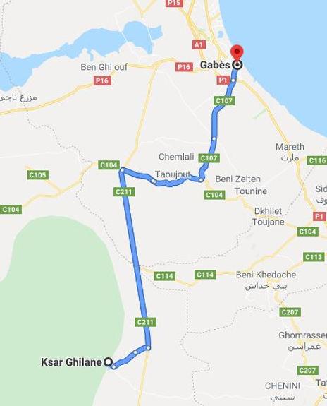 Excursion Gabes Ksar ghilane. Map.