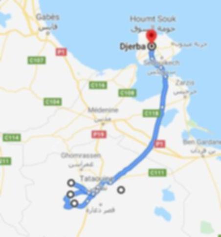 De Djerba trek à Douiret. Map.JPG