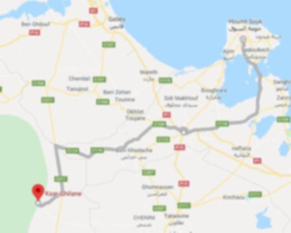 Excursion de Djerba à Ksar Ghilane. Map. JPG