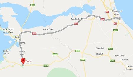 Gabes Randonnée chamelière dans le désert. map.