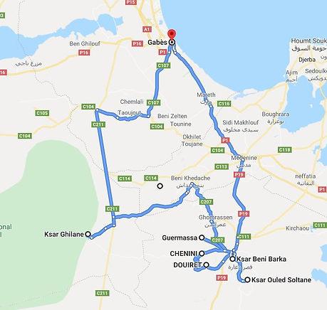 Gabes Trek Douiret et Ksar Ghilane. Map
