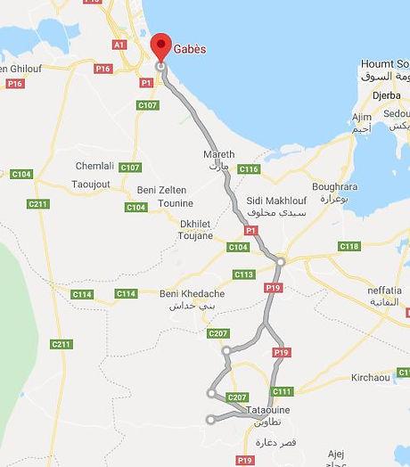 Excursion Gabes Tataouine et Chenini. Map