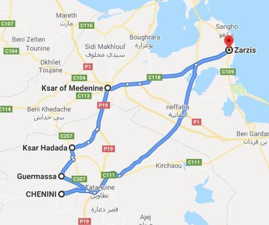 Excursion De Zarzis à Chenini. Map. JPG