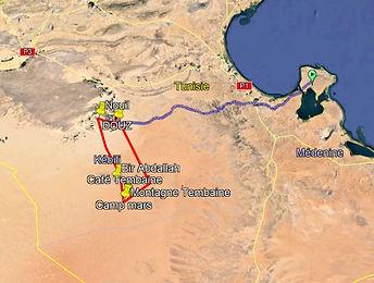Carte du trek en Dromadaire au desert Tunisien depuis Djerba et Douz, Tunisie.jpg