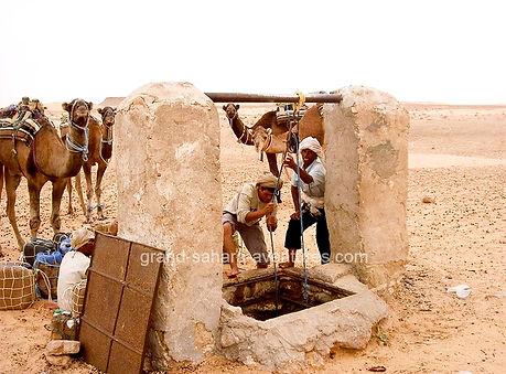 Randonnée chameliére dans le désert en Tunisie, départ de Gabes