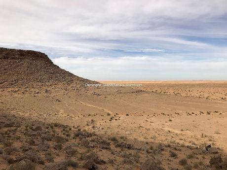 La Montagne Tembaine en randonnée chameliére dans le désert en Tunisie