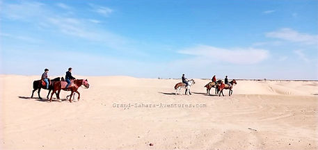 Balade à cheval dans le désert de Tozeur.