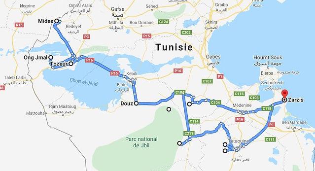 Circuit de Zarzis à Tozeur, la Saharienne. Map.