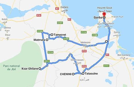 Djerba  Ksar Ghilane - Matmata. Map.JPG
