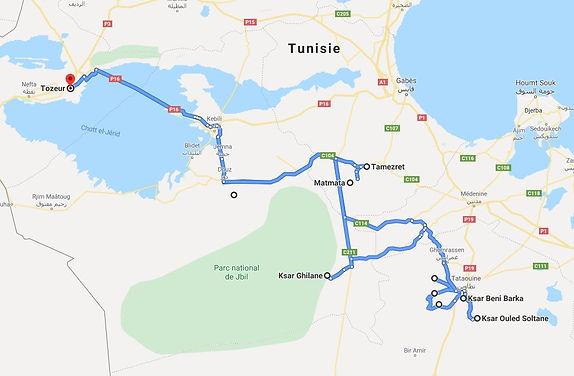 Tozeur Trek à Douiret et Ksar Ghilane. Map