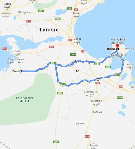 Djerba, excursion dromadaire a dDouz. Map.JPG