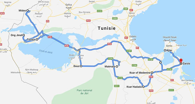 Zarzis Circuit Star Wars Tunisie. Map