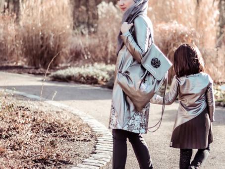 Futuristischer Mutter-Tochter-Look - Layering-Pulli
