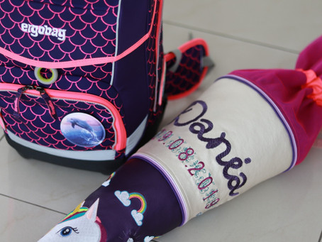 Einschulung 2019! Selbstgenähte Schultüte aus Kunstleder im Einhorn-Look