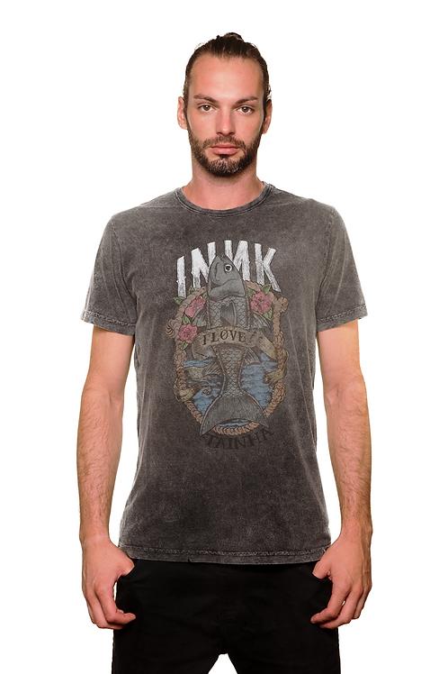 Camiseta I Love Tainha Cinza Estonada