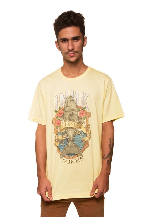 Camiseta I Love Tainha Amarela