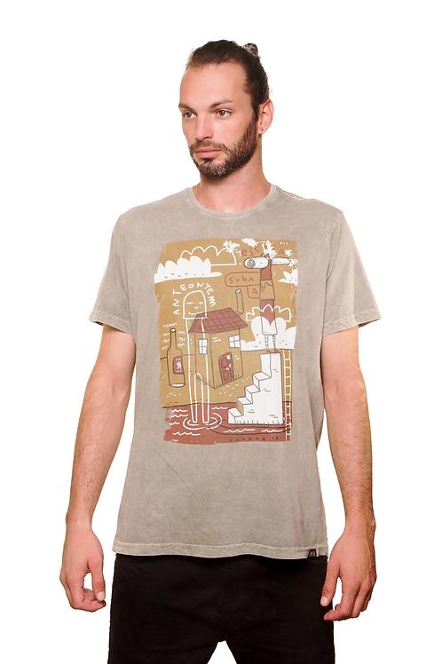 Camiseta Suba a Escada Bege Estonada