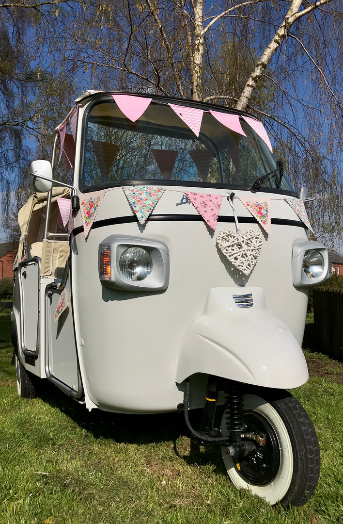 Wedding Transport with Pink Bunting