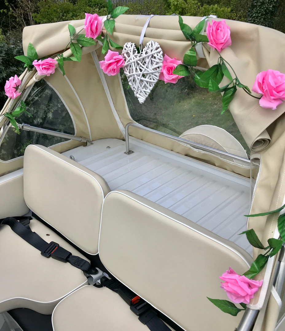 Wedding Car with Pink Rose and Heart Gar