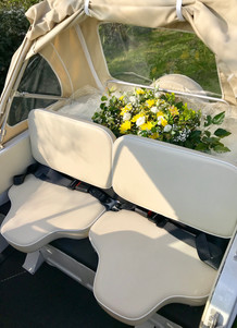 Wedding Car with Yellow Flower Arrangeme