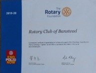 Banstead Rotary receives prestigious award for fundraising to End Polio Now from Rotary Foundation