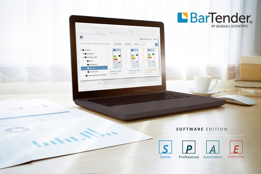 Schermata del pc con software Bartender 2021 di Seagull Scienticig