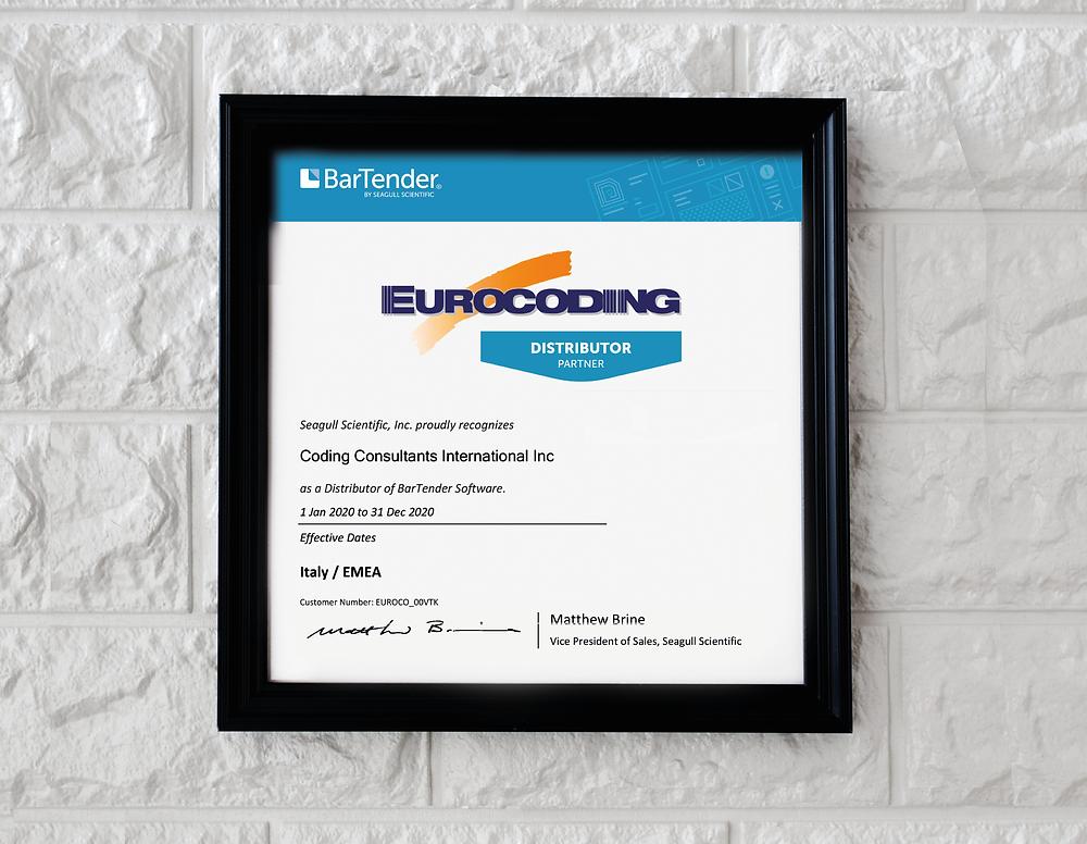 Certificato di Distributore Ufficiale del software Bartender di Seagull Scientific