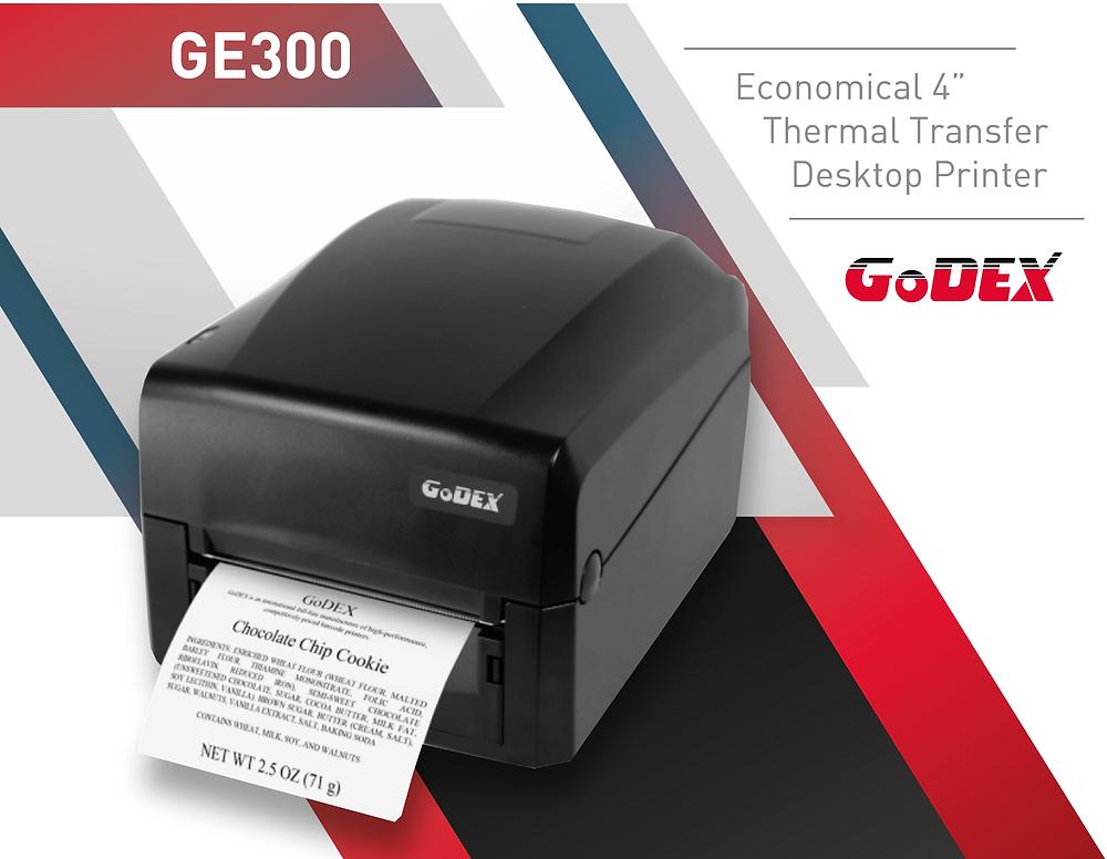 "Stampante desktop GoDEX GE300 Economica, 4"", Trasferimento Termico"