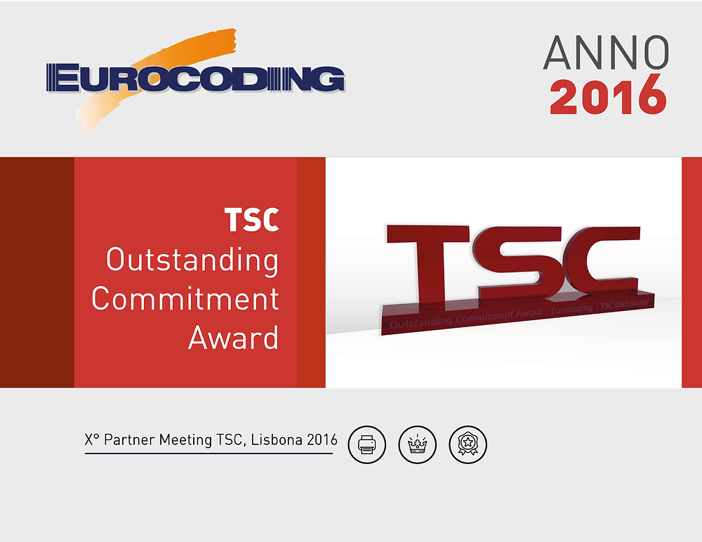 Eurocoding TSC Partner Meeting 2016 Lisbona Outstanding Commitment Award