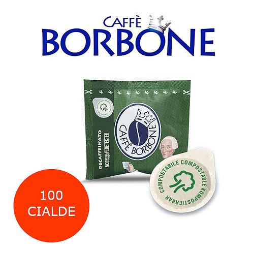 100 caffè BORBONE miscela VERDE DEK-CIALDE ESE 44mm