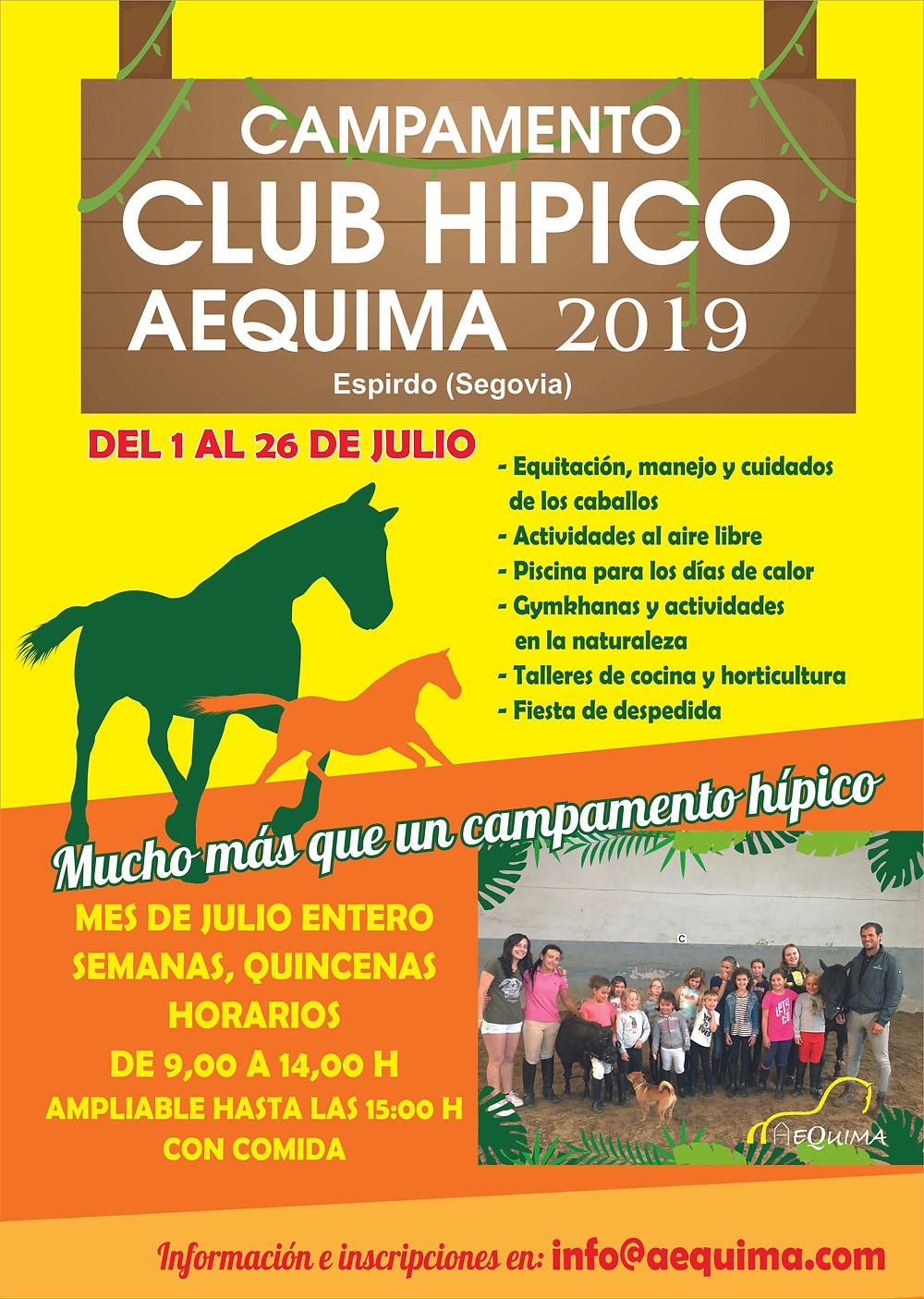 Cartel Campamento Club Hípico AEQUIMA 2019