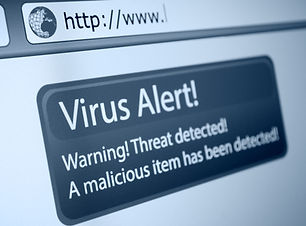 Closeup of Virus Alert Sign in Internet