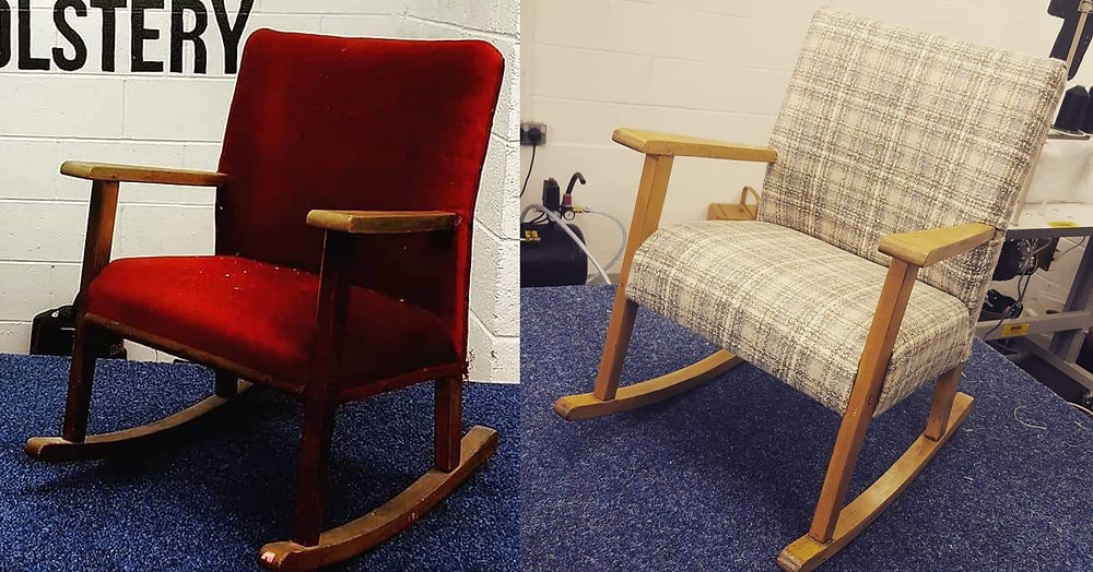 Miniature rocking chair reupholstered by Love Lily Upholstery