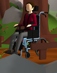 An image of Ivan in is wheelchair at a park.