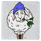 hybrid artwork, hybridartwork, artwork, images, cool artwork, cool, sheep, mint, beanie, coaster, weird