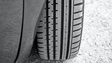damaged car tire on road