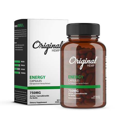 Original Hemp Energy Capsules 25mg (60 count)
