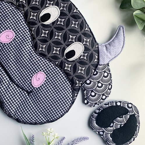 Cow Placemat & Hoof Coaster, PDF Sewing Pattern, Home Decor, Table setting