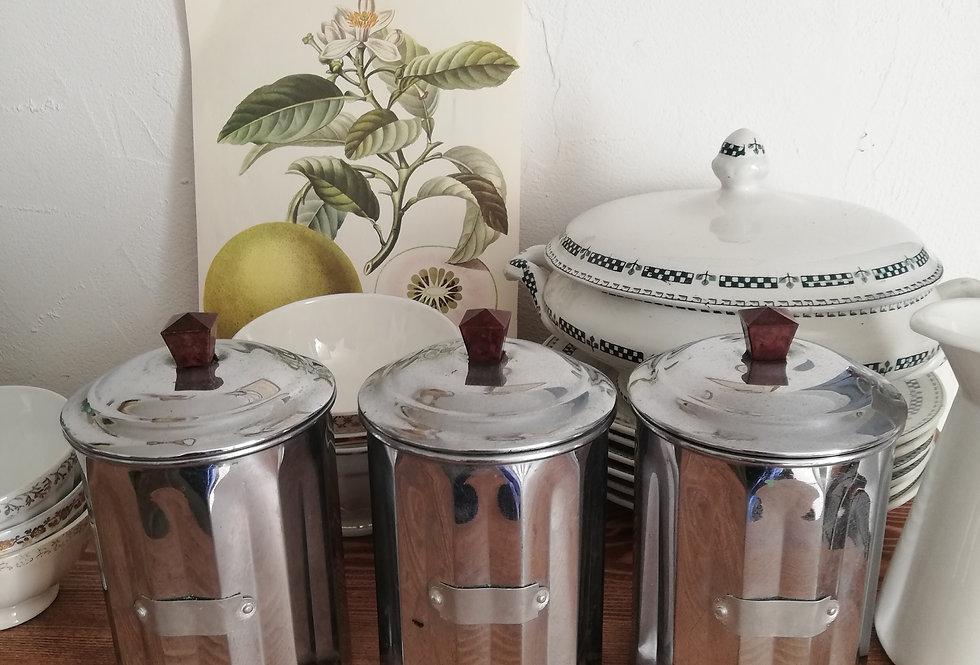 pots à épices 1950 métal argenté
