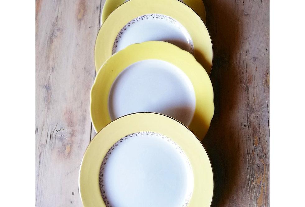 4 grandes assiettes plates vintage