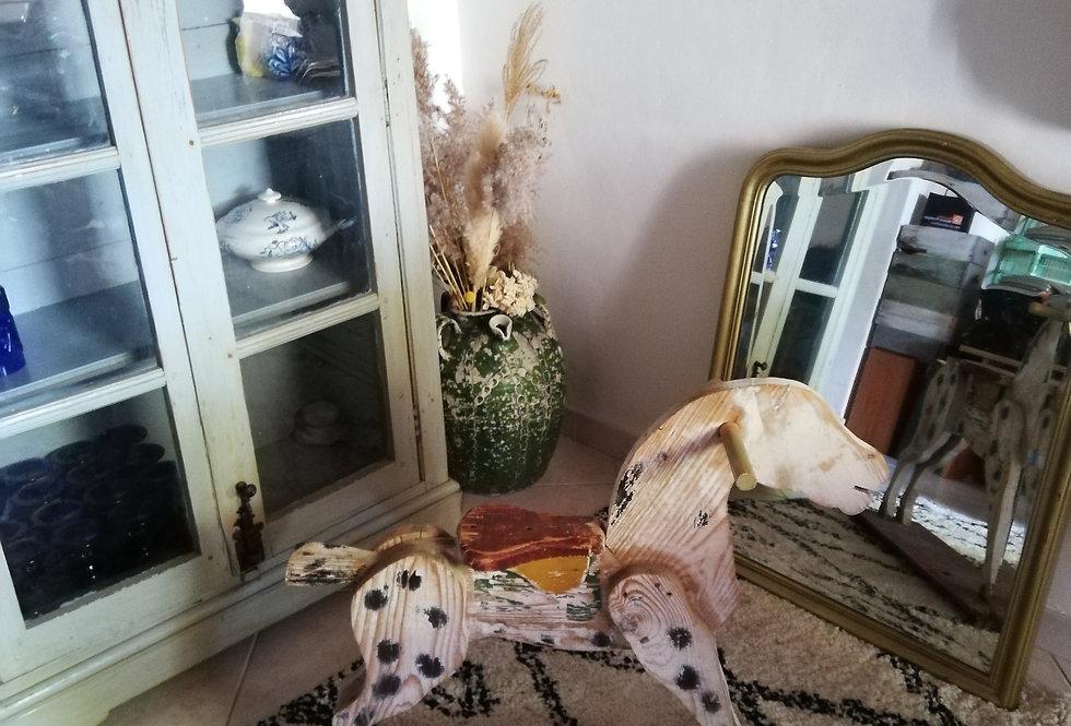 cheval ancien en bois grand modèle