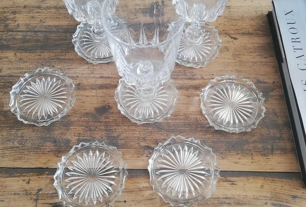 8 sous verres en cristal