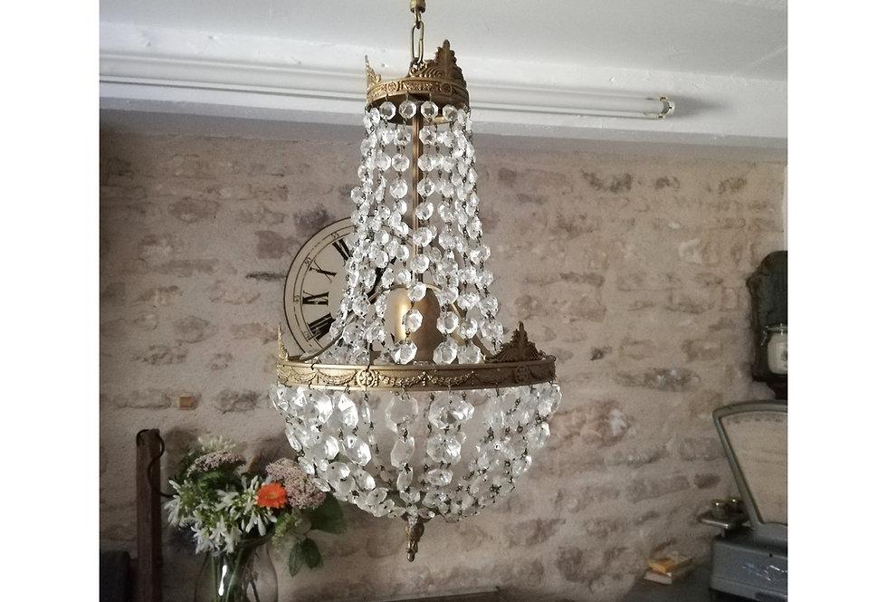 lustre mongolfiere vintage a pampille